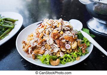 alimento tailandés, ñame, pla, duk, foo