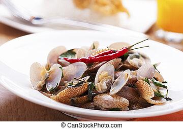 alimento, tailandés, almejas, conmoción, frito