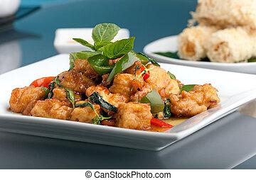 alimento, tailandés, aperitivos