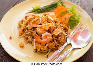 alimento tailandés, bata frito, tallarines arroz, o, cojín tailandés