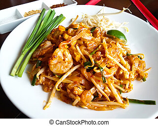 alimento tailandés, bata frito, tallarines arroz, (pad, thai).