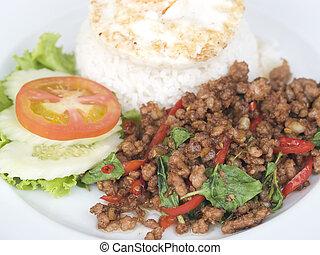 alimento tailandés, cerdo, con, basil.