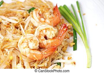 alimento tailandés, cojín tailandés, bata frito, tallarines arroz, (pad, thai)