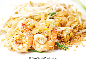 alimento tailandés, estilo, bata frito, tallarines arroz, (pad, thai)