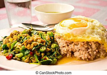 alimento, tailandés, frito, conmoción, albahaca