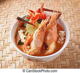 alimento tailandés, goong del yum del tom