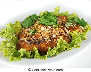 alimento tailandés, pez frito, con, ajo