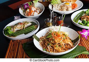 alimento, tailandés, platos