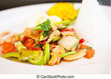 alimento tailandés, pollo, y, anacardos