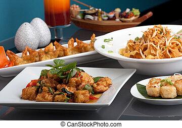 alimento, tailandés, surtido