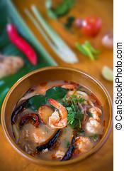alimento tailandés, tom, yum, kung, con, ingrediente