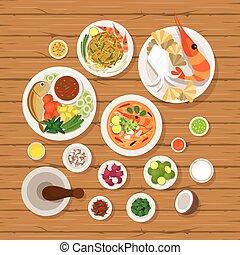 alimento tailandés, y, ingredientes, conjunto