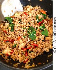alimento, tailandês, temperado