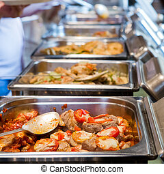 alimento, tailandia, buffet.