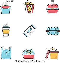 alimento, tallarines, fastfood., set., wings., barra, rgb, ...