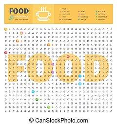 alimento, temático, linha, cobrança, ícones