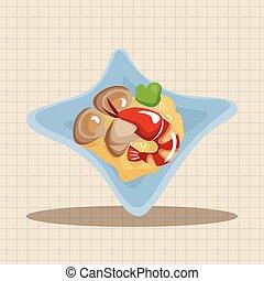 alimento, tema, elementos, italiano