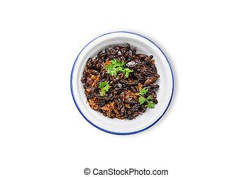 alimento, tigela, grilos, ferro, inseto, fritado