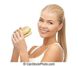 alimento, tranqueira, comer mulher