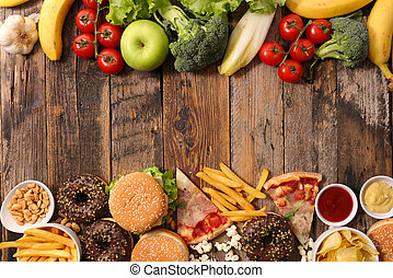 alimento, tranqueira, conceito, saúde, ou