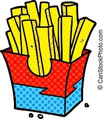 alimento, tranqueira, frita, caricatura