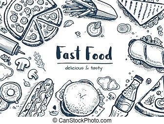 alimento, tranqueira, lanche, fundo, cobrança