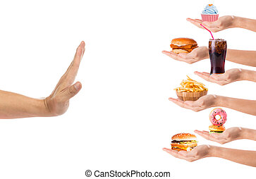 alimento, tranqueira, recusar, mão