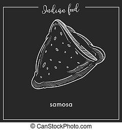 alimento, triangular, tradicional, indio, delicioso, crujiente, samosa