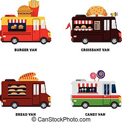 alimento, van., calle, ilustración, aislado, vector, diseño...