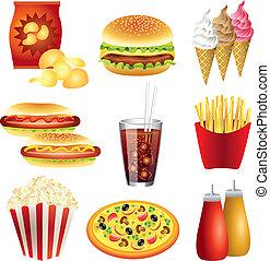 alimento, vector, conjunto, comidas, rápido