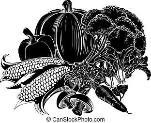 alimento, vegatables, ícone