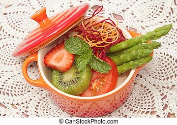 alimento, vegetal, confundir, fruta, cierre, sano, ensalada