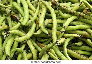 alimento, vegetales, frijoles lima, textura