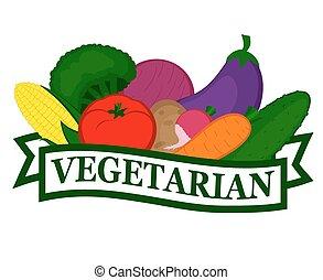 alimento, vegetariano, ícone