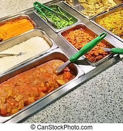 alimento, vegetariano, buffet, variedad