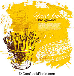 alimento, vendimia, ilustración, mano, fondo., rápido,...