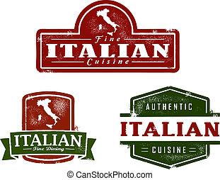 alimento, vendimia, italiano, gráficos