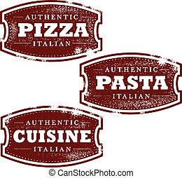 alimento, vendimia, sellos, italiano