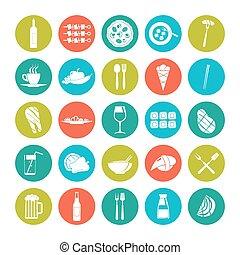 alimento, verão, jogo, ícone