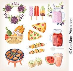 alimento, verano, recreación, elementos