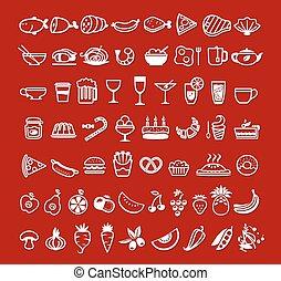 alimento, vetorial, ícones