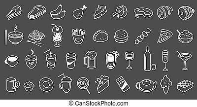 alimento, vetorial, cobrança, ícones