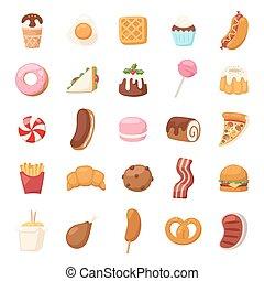 alimento, vetorial, icons.