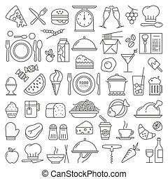 alimento, vetorial, jogo, ícones