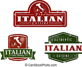 alimento, vindima, italiano, gráficos