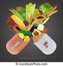 alimento, vitamina, b9