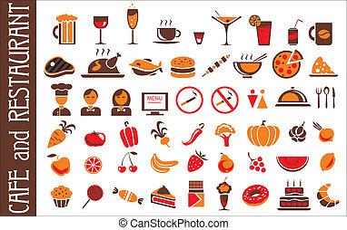 alimento y bebida, iconos, conjunto, fondo blanco