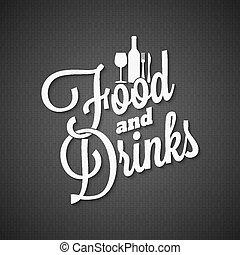 alimento y bebida, vendimia, letras, menú, plano de fondo