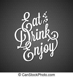 alimento y bebida, vendimia, letras, plano de fondo