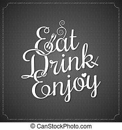 alimento y bebida, vendimia, tiza, letras, plano de fondo